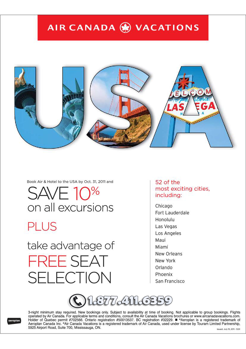 Air Canada Vacations Savings on USA Deals!