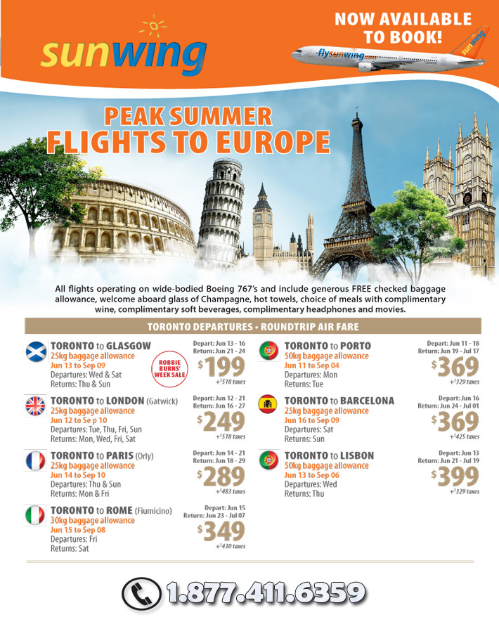 Sunwing Peak Europe Flight Deals and Specials