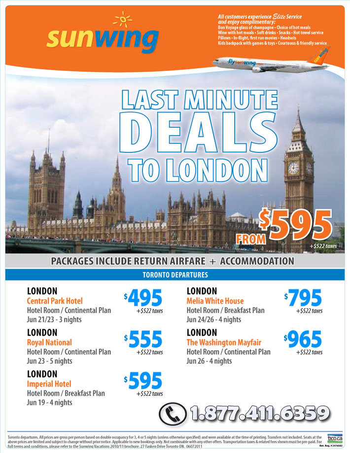 Sunwing Vacations Specials - Last Minute Deals to London