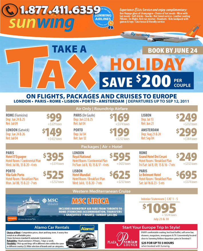 Sunwing Take a Tax Holdays