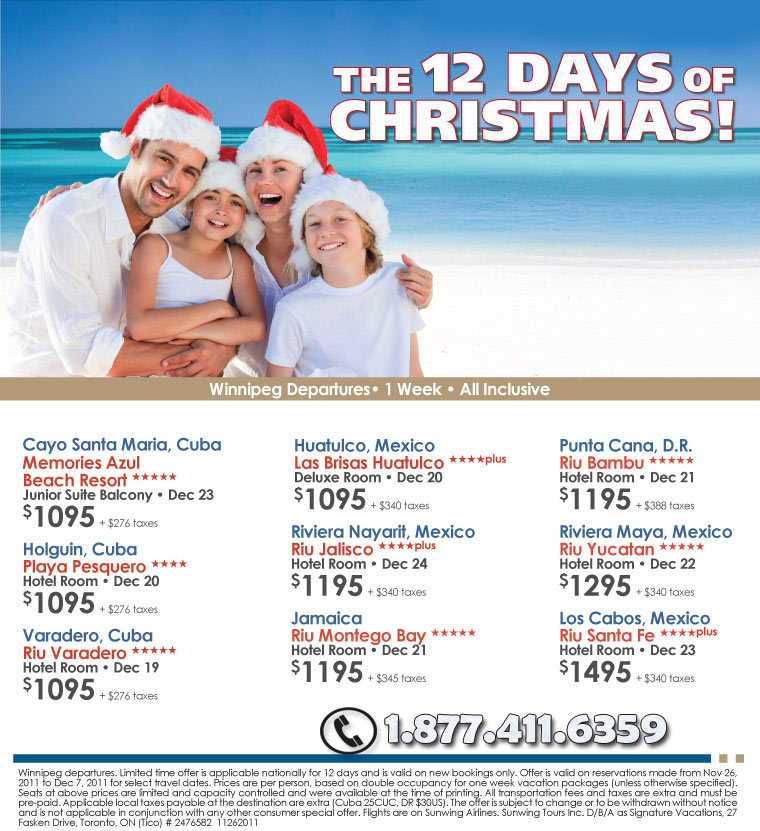 Signature Vacations 12 Days Of Christmas Deals All