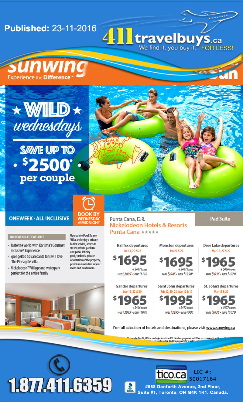Sunwing Wild Wednesday Sunwing Vacations Cheap Last