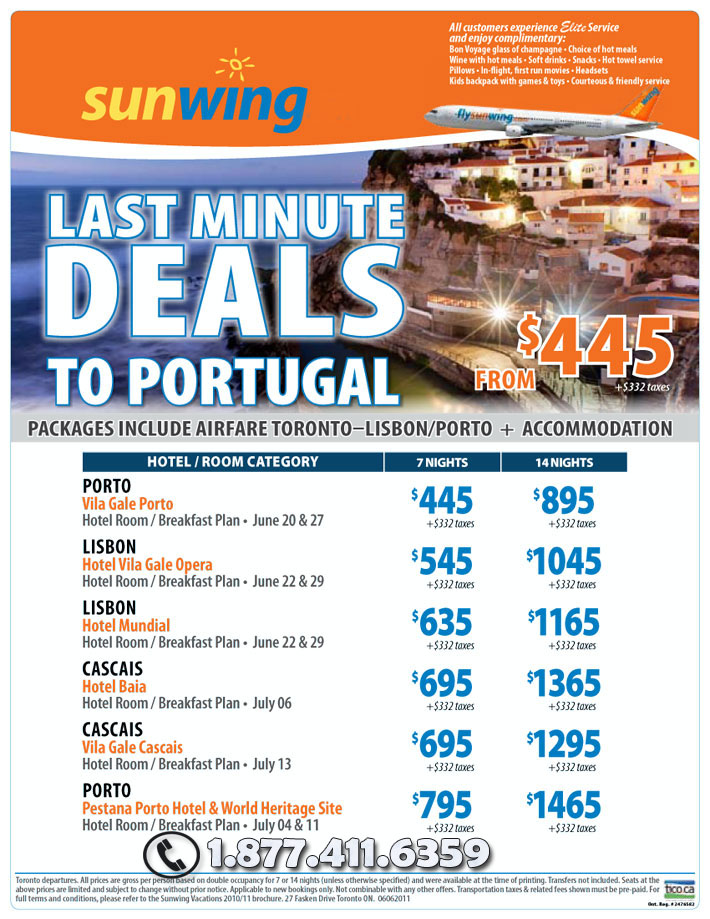 Last Minute Vacations >> Sunwing Vacations Last Minute Deals To Portugal Toronto