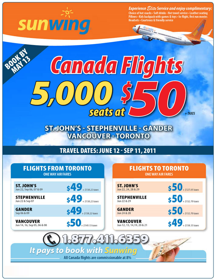 Sunwing Vacations 5 000 Canada Flights At 50 Sunwing Specials 5 000 Canada Seats At 50 With Sunwing Airlines 2014 Canada Flights 411travelbuys Ca