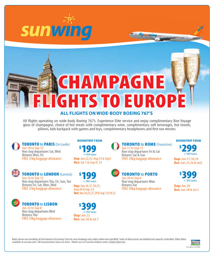 Sunwing Vacations Peak Summer Europe Flights All Inclusive Vacation Packages 411travelbuys Ca