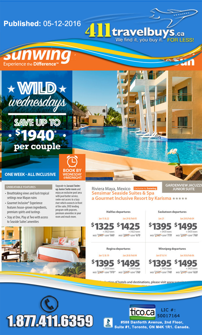 Sunwing Wild Wednesday Sunwing Vacations Cheap Last Minutes All Inclusive Deals